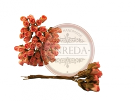 Mini Semi Open Rose Buds - Pink Cream Variegated
