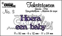 Crealies tekststans - Hoera een baby (NL) CLTS03 / 9x30 6x18 11x24 mm