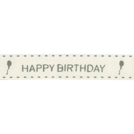 Ribbon 15mm ENG happy birthday  - per meter