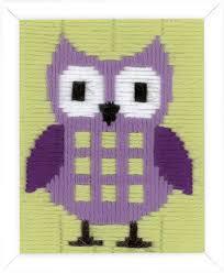 Borduurpakket spansteek paarse uil voor kinderen Vervaco pn-0147442