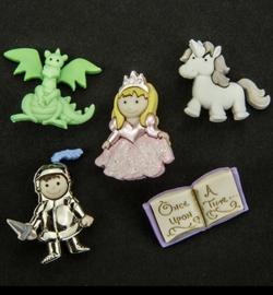 Sprookjesfiguren (ridder, prinses, draak, paard en boek)