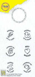 Nellies Choice Clearstempel-Circle Stamp kindje-ENG tekst CCSB002