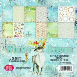 Craft&You Winter Dream Small Paper Pad 6x6 36 vel CPB-WDR15