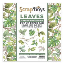 Scrapboys POP UP Paper Pad double sided elements - Leaves POPLE-02 190gr 15,2x15,2cm