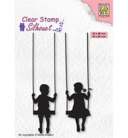 Nellie`s Choice - SIL076 - Silhouettes Boy & girl swiging