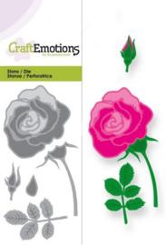 CraftEmotions Die - roos Card 5x10cm