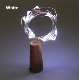 Wijnflesstop 2 M 20 Leds - Wit (incl. batterijen)