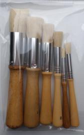 Set sjabloneer- of tamponeerkwasten - 6 stuks