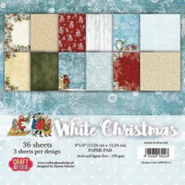 Craft&You white Chritmas Small Paper Pad 6x6 36 vel CPB-WC15