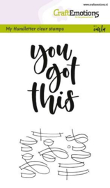 CraftEmotions clearstamps A6 - handletter - you got this (Eng)