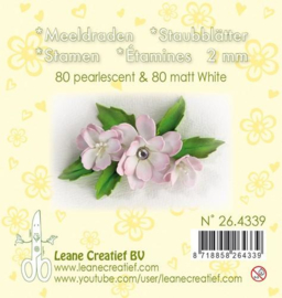LeCrea - Meeldraden 2mm, ±80 mat & 80 parel wit 26.4339
