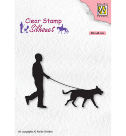 Nellie`s Choice - SIL070 - Silhouette Men-things Man with dog