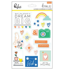 Pinkfresh Studio Dream On: Layered chipboard stickers