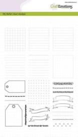 CraftEmotions clearstamps A5 - Bullet Journal - frames en randen