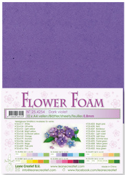 LeCrea - 10 Flower Foam sheets A4 donker paars 25.4254 0.8mm