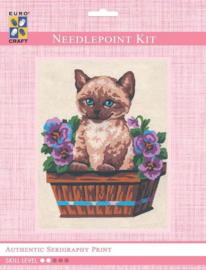 Eurocraft NEEDLEPOINT KIT 14x18cm - 3139K - Kitten in Flower Box