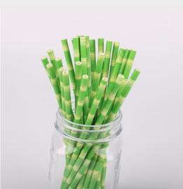 5 stuks Bamboe rietje groen