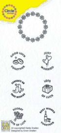 Nellies Choice Clearstempel-Circle Stamp Huwelijk-ENG tekst CCSM002