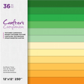 Crafters Companion - 30x30 cm linnen Cardstock Paperpad - Sunflower Tones