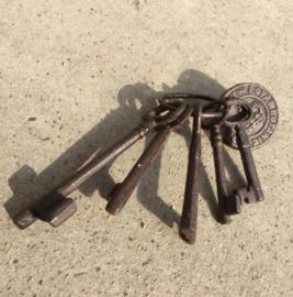 Sleutelbos: 5 sleutels aan ring met label