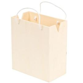 Houten tas met hengsel klein  11,7cm x 5,1cm x 16cm