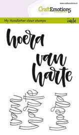 CraftEmotions clearstamps A6 - handletter - hoera van harte