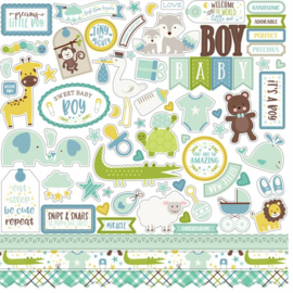 Echo Park Sweet Baby Boy 12x12 Inch Element Sticker (SBB143014)