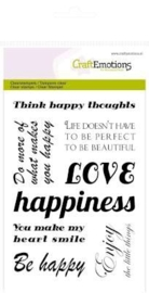 CraftEmotions clearstamps A6 - tekst `happy` Happiness