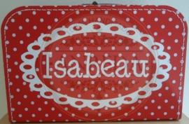 35 cm rood met witte stippen Koffertje ~ Isabeau