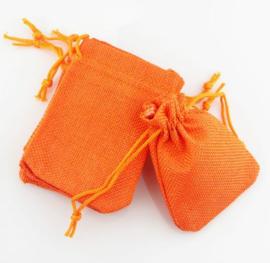 Jute look zakje 15x20 cm - Oranje kleur