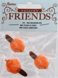Mini Mushroom Bird - 3pc - Orange