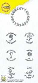Nellies Choice Clearstempel-Circle Stamp  Gefeliciteerd-ENG tekst CCSC002