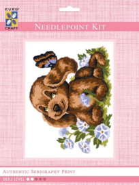 Eurocraft NEEDLEPOINT KIT 14x18cm - 3191K - Puppy and Butterfly