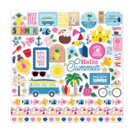 Echo Park I Love Summer 12x12 Inch Element Sticker (SU178014)