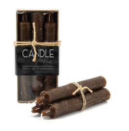 Candle Junkie doosje met 6 dinerkaarsen - Bruin