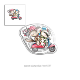 Polkadoodles Horace & Boo Scooting Along Clear Stamp (PD7866)