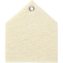 Vilt vorm, afm 6,5x7,5 cm, off-white, Huis