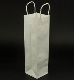 Papieren draagtas met gedraaide handgrepen Wit - Voor fles