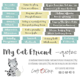 CraftOçlock - Die-cuts My Cat Friend, 16xENG quotes , cut-out, 190 gsm