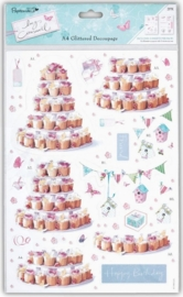 A4 Glittered Decoupage - Lucy Cromwell - birthday party (PMA169027)