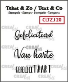 Crealies Clearstamp Tekst&Zo 3x Jarig 20 (NL) CLTZJ20 max. 32 mm
