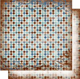 Bo Bunny - Snowfall - 12 x 12 Double Sided Paper - Snowfall Dot GLITTER