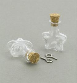 Mini Glass Bottles, met kurk en schroefoog - Ster