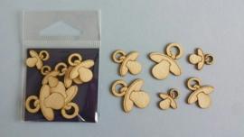 Speentjes 3 x 2 stuks 2,7-2,1-1,6 cm 1,5 mm dik chipboard