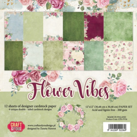 Craft&You Flower Vibes big paper set 12x12 12 vel CPS-FV30