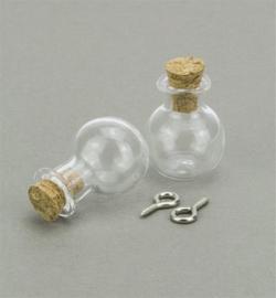 Mini Glass Bottles, met kurk en schroefoog - Rond (bol)
