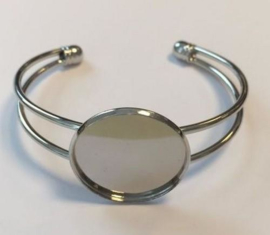 Open armband met 25 mm zetting 62x52 mm (voor epoxy) 12354-5402 (platinum)