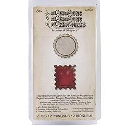 658559 Sizzix Movers & Shapers Magnetic Dies By Tim Holtz Mini Bottle Cap & Postage Stamp