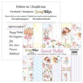 ScrapBoys Sweet Ballet paperpad 24 vl+cut out elements-DZ SWBA-09 190gr 15,2x15,2cm