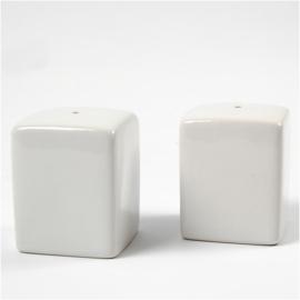 Zout & Peper set, h: 6 cm, afm 5x5 cm, wit
